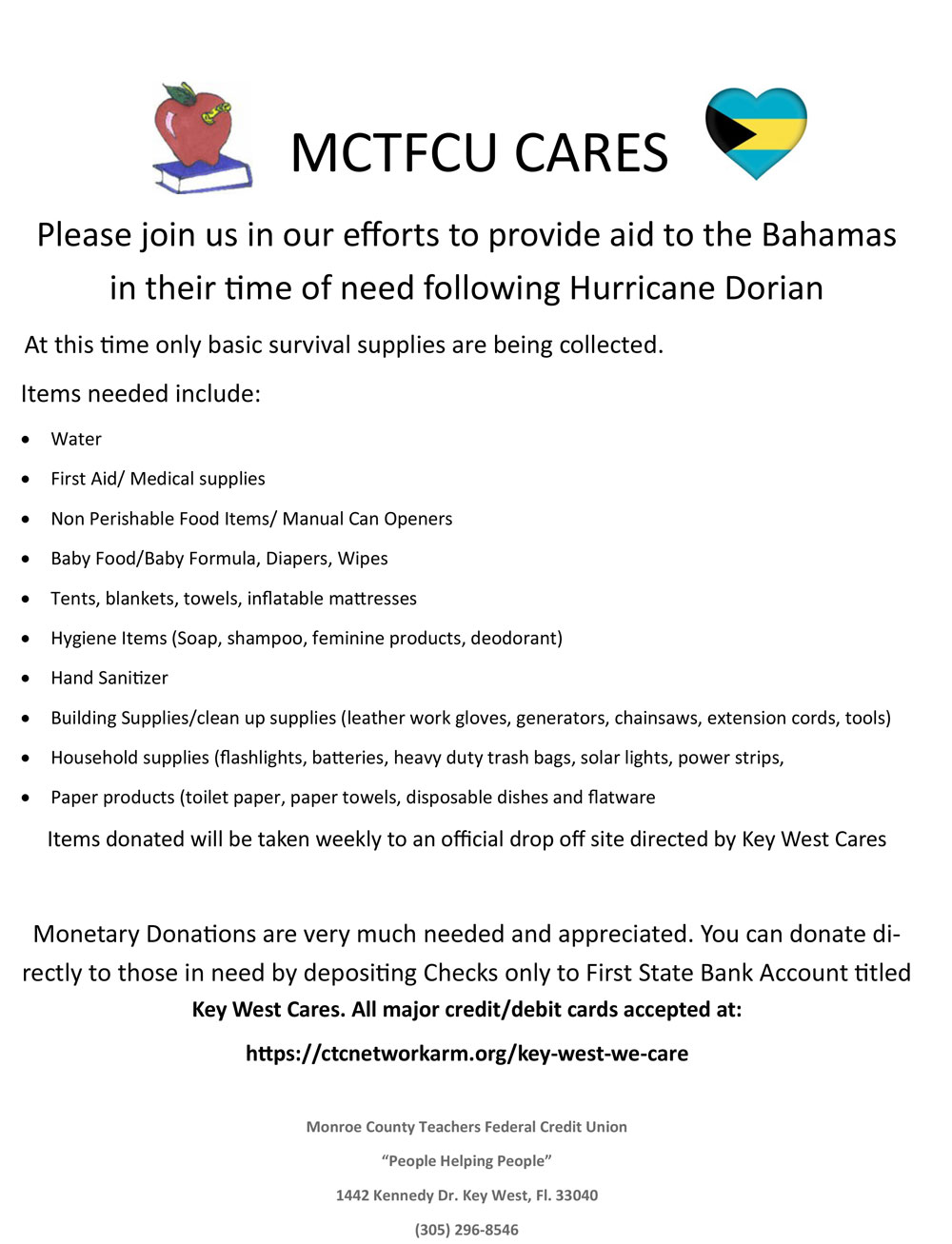 Please join us in our efforts to provide aid to the Bahamas in their time of need